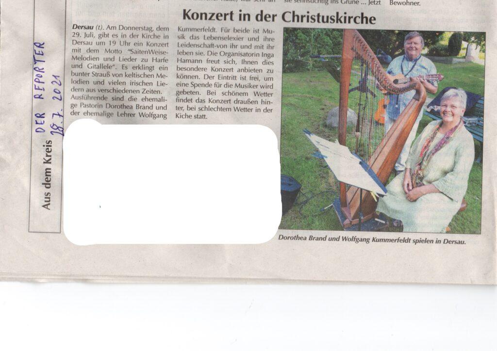 Unser erstes Konzert. Das war die Zeitungsanzeige.